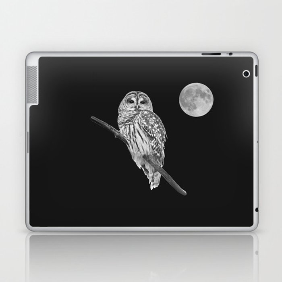 Owl, See the Moon (bw) Laptop & iPad Skin