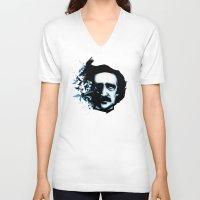 edgar allan poe V-neck T-shirts featuring Edgar Allan Poe Crows by Ludwig Van Bacon