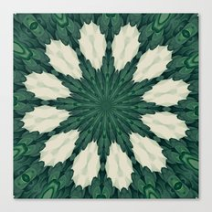 Tropical Sacramento Green and Silver Leaf Mandala Canvas Print