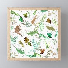 Green Leaves, Paint Splatter, Pattern Framed Mini Art Print