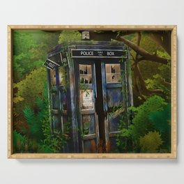 Abandoned Tardis doctor who in deep jungle Serving Tray