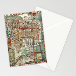 1932 Vintage Map of Mexico City Stationery Cards