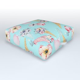 Pink & Teal Summer Fun Flower Ice Cream Cone - Pattern Outdoor Floor Cushion