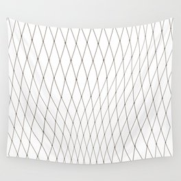 Fish net / black on white distorted geometry Wall Tapestry
