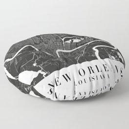 New Orleans Louisiana Minimal Black Mono Street Map  Floor Pillow