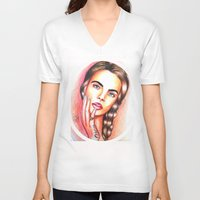 cara delevingne V-neck T-shirts featuring Cara Delevingne by  Can Encin