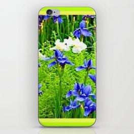 WHITE-BLUE IRIS & CHARTREUSE FERNS GARDEN iPhone Skin