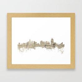 Cincinnati Ohio Skyline Sheet Music Cityscape Framed Art Print
