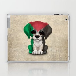 Cute Puppy Dog with flag of Palestine Laptop & iPad Skin