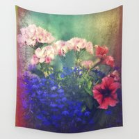 olivia joy Wall Tapestries featuring Flowers of my joy by Victoria Herrera