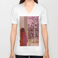 snow V-neck T-shirts featuring snow by Lara Paulussen