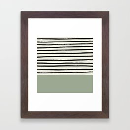 Sage Green x Stripes Framed Art Print