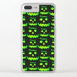 Halloween Green Pumpkin Clear iPhone Case