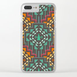Vector Seamless Tribal Pattern. Geometrical Ethnic Print Ornament with Triangles and Stripes Clear iPhone Case