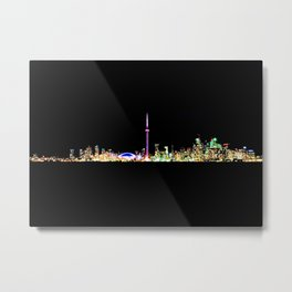Toronto Skyline At Night From Centre Island Metal Print