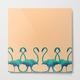 Flamingo dance_sunset Metal Print