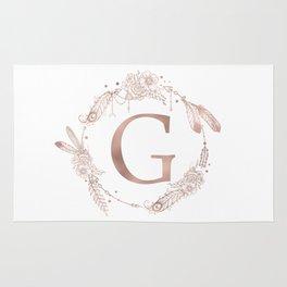 Letter G Rose Gold Pink Initial Monogram Rug
