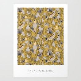 Birds of Prey in Yellow Art Print
