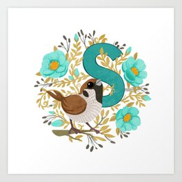 S is for Sparrow Art Print