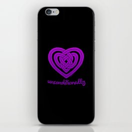 UNCONDITIONALLY in purple on black iPhone Skin