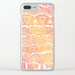 Wavy Tribal Lines with Shapes - White on Orange - Doodle Drawing Clear iPhone Case