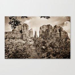 The Cathedral - Sedona Arizona - Red Rock Crossing - Sepia Canvas Print