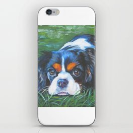 Beautiful Tricolour Cavalier King Charles Spaniel Dog Painting by L.A.Shepard iPhone Skin