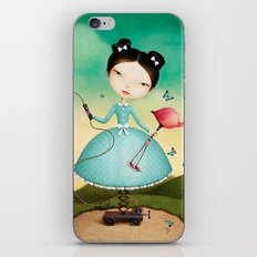 mechanical girl and flamingos iPhone & iPod Skin
