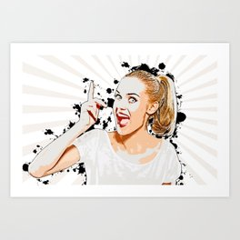 Pop Art, Woman Pointing with Open Mouth Art Print
