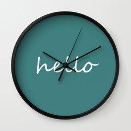 Hello Jade Green Wall Clock