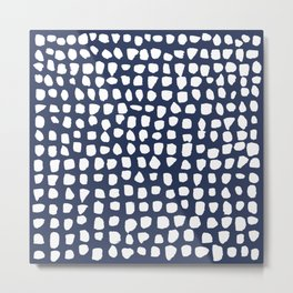 Dots / Navy Metal Print