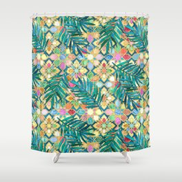 Gilded Moroccan Mosaic Tiles with Palm Leaves Shower Curtain