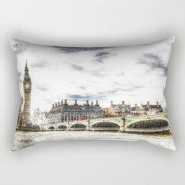 Westminster Bridge London snow Rectangular Pillow