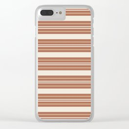 Ligonier Tan SW 7717 and Creamy Off White SW7012 Horizontal Line Pattern 6 on Cavern Clay SW 7701 Clear iPhone Case