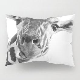 Silly Giraffe B&W // Wild Animal Portrait Cute Zoo Safari Madagascar Wildlife Nursery Ideas Decor Pillow Sham