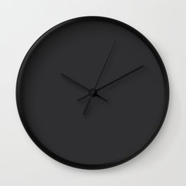 Dark Charcoal Grey Solid Color Pairs To Sherwin Williams 2021 Trending Color Tricorn Black SW 6258 Wall Clock