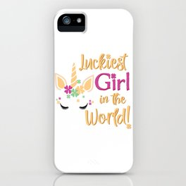 Luckiest Girl In The World St Patrick Unicorn Shamrock design iPhone Case