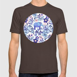 Pale Coral, White and Purple Elephant and Floral Watercolor Pattern T-shirt