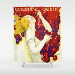 Vintage 1920 French Art Deco Grape Jelly Advertisement Poster 'Raisin - Concentre Gelifie' by Villa Shower Curtain