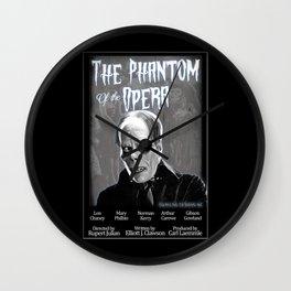 Opera Phantom 1925 Classic Horror Movie Fan Art Poster - Public Domain - Darkling Designs Inc 0008BLKBG Wall Clock