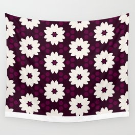 Abstract Decorative Pattern 28 - Puple red, White Wall Tapestry
