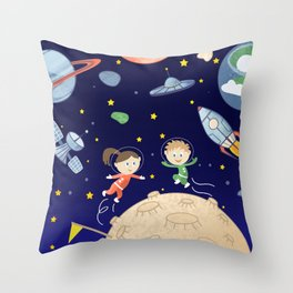 Space kids astronauts planets asteroids and spaceships Throw Pillow