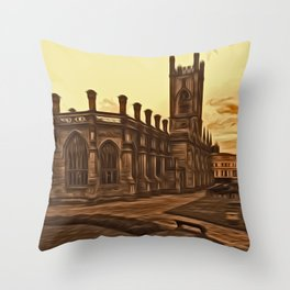 WW2 Bombed out Church Liverpool (Digital Art) Throw Pillow