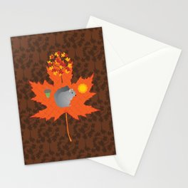 Grey Squirrel Autumn Pattern Stationery Cards