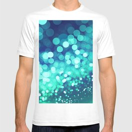 Aqua Blue Glitter Wave T-shirt