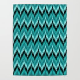 Turquoise and Black Bargello Pattern Poster