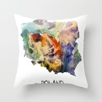 poland Throw Pillows featuring Map of Poland watercolor by jbjart
