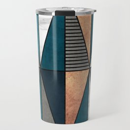 Copper, Marble and Concrete Triangles with Blue Travel Mug