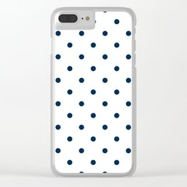 Navy Blue & White Polka Dots Clear iPhone Case