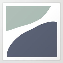 Abstract mid-century modern in blue and grey Art Print